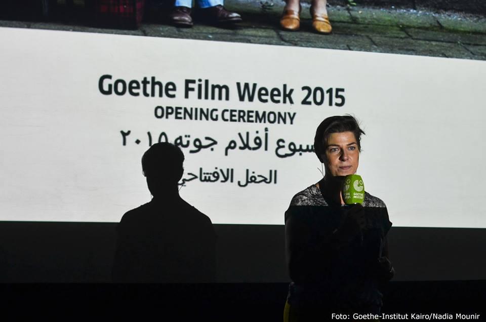 """السيدة يوهانا كيلر وهي تلقي كلمة بمناسبة افتتاح""""أسبوع أفلام جوتة"""" هذا العام"""